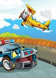 The car and the flying machine - illustration for the children Royalty Free Stock Image