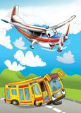 The car and the flying machine - illustration for the children Stock Photos