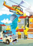 The car and the flying machine - illustration for the children. The happy and colorful illustration for the children Royalty Free Stock Images