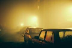 Car in the fog Stock Photo