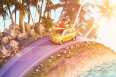 Free Car For Traveling With A Roof Rack On A Mountain Road. 3d Illustration Stock Image - 88796871
