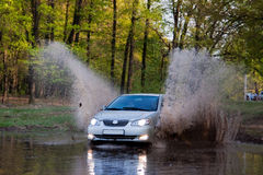 Car forces water. Sedan on nature stock photos