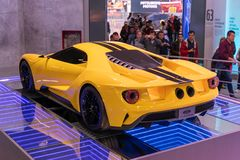Car Ford GT yellow color stock photos