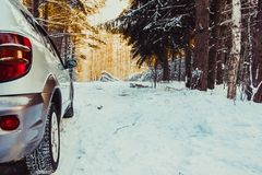 The car in the forest in winter Royalty Free Stock Photos