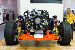 Car frame and Engine on Display Royalty Free Stock Images