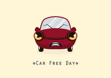 Car Free Day. Cartoon character angry car. Vector illustration of a red car. Important day royalty free illustration