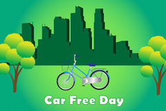 Car free day. With clean energy and bike stock illustration