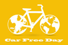 Car Free Day concept illustration. World car free day on September 22 announcement. Illustration white bicycle on an orange background stock illustration