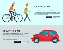 Car Free Day and Driving Car Vector Illustration royalty free illustration