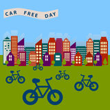 0115_4 car free day. Day freet cars to liberate the city from the exhaust gases royalty free illustration