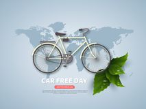 Car free day holiday banner or poster. Paper cut style bicycle, realistic leaves with water drops. Wold map blue color background,. Car free day holiday banner vector illustration