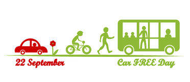 Car free day, september 22. International day celebrate better air. one day a year without cars stock illustration