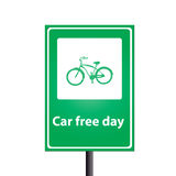 Car free day. On the traffic sign stock illustration