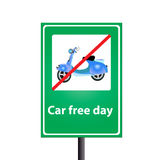 Car free day. The car free day on the traffic sign stock illustration