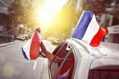 Car with French flags Stock Photo
