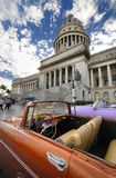 Car in front of Capitol in Havana. Stock Photo