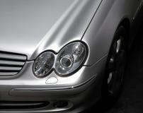 Car front detail. Silver lux car detail, elegant stock photo