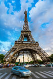 Car in front of Eiffel Tower, Paris, France royalty free stock photo