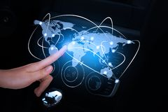 Car front panel with holographic screen Royalty Free Stock Image
