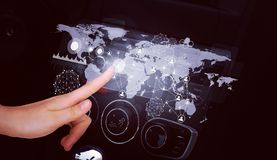 Car front panel with holographic screen Royalty Free Stock Photo