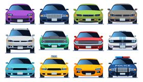 Car front view set. Urban city traffic vehicle model cars. Police and taxy color fast auto traffic driving flat vector. Sedan collection royalty free illustration