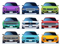 Car front view set. Urban traffic vehicle model cars icon transport color fast auto road city traffic driving set vector illustration