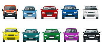 Car front view set. Vehicles driving in the city. Vector flat style illustration isolated on white background. Template Stock Image