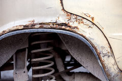 Car Front Wing rusty. Front Wing rusty, the car is scattered from an old age and becomes covered by a rust Royalty Free Stock Images