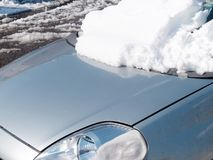 Car frontal window covered fresh snow Royalty Free Stock Photo