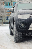 Car frost winter. Dark elements of car in the winter with hoar frost on them royalty free stock photos