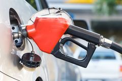 Car fuel oil. Red pumping fuel oil in car at gas station Stock Images