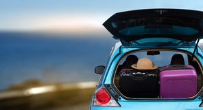 Free Car Full  And Bags To Return From Summer Holidays. Overloaded Ca Royalty Free Stock Image - 90854316