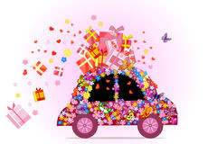 Car full of gifts Stock Image