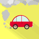 Car fuming. Red car steaming the exhaust pipe. Air pollution. Flat design with long shadow Stock Images