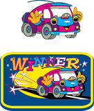 Car, fun toys, cartoons. Cheerful little car, image for children Royalty Free Stock Photography