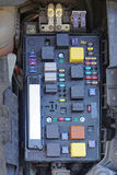 Car fuse box. With relayes and fuses stock image