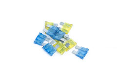 Car fuse. Pile of colorful electrical automotive fuses Royalty Free Stock Photography