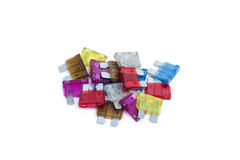 Car fuse. Pile of colorful electrical automotive fuses Royalty Free Stock Images