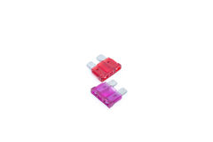 Car fuse. Two electrical automotive fuses or circuit breakers Royalty Free Stock Images