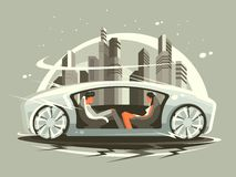 Car of future. Car future with comfortable lounge for communication people. Vector illustration Stock Photos