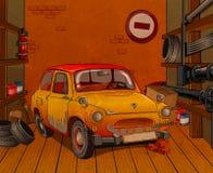 Car in garage. Repair of the old yellow car in garage stock illustration