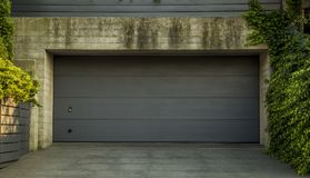Car garage door. With ivy around royalty free stock photo