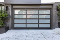 2 car garage door with frosted glass stock photography