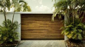 Car garage door. Panoramic view stock image