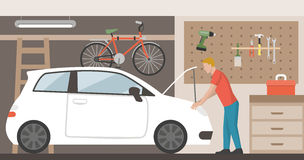 Car in the garage. Home garage with car, bike and tools hanging on the wall, a man is repairing the car royalty free illustration