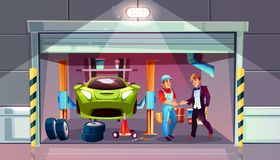 Car garage mechanic and client vector interior. Car garage tire change replacement vector illustration. Mechanic and client shake hands for auto service vector illustration