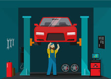 Car garage vector illustration, man mechanic standing and repairing auto Stock Photo