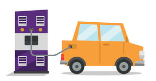 Car at gas station being filled with fuel. Royalty Free Stock Images