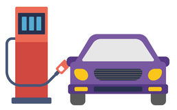 Car at gas station being filled with fuel. Car at gas station being filled with fuel vector flat design illustration isolated on white background Royalty Free Stock Images