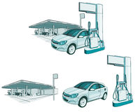 Car at the gas station. Drawing of a gas station can be used to describe the petrol price Royalty Free Stock Images